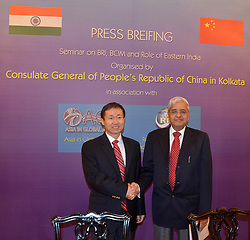 August 4, 2017 - Kolkata, West Bengal, India - A press meet in Kolkata Grand Oberoy where it was announced by officials from China that a seminar would be held on 10th of August, regarding exchanges and cooperation between China and India. The discussion would also include the peaceful regulation for transposing of India while construction of Road near Dokalam which is harmful for China. China's Consul General Ma Zhanwu said there was scope for peace. (Credit Image: © Sandip Saha/Pacific Press via ZUMA Wire)