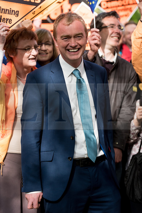 © Licensed to London News Pictures. 19/04/2017. London, UK. Liberal Democrat leader TIM FARROW speaks to supporters at a rally in Richmond in response the announcement of the General Election on June 8th 2017. Photo credit: Ray Tang/LNP