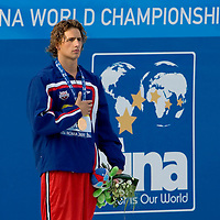 Ryan Lochte (USA) celebrates his victory in 400 m Men's Individual Medley Swimming competition during the 13th FINA Swimming World Championships held in Rome, Italy. Sunday, 02. August 2009. ATTILA VOLGYI