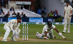 August 12, 2018 - London, Greater London, United Kingdom - Ravichandran Ashwin of India just gets home.during International Test Series 2nd Test 4th day  match between England and India at Lords Cricket Ground, London, England on 12 August  2018. (Credit Image: © Action Foto Sport/NurPhoto via ZUMA Press)
