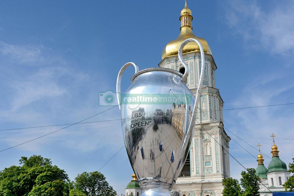 May 25, 2018 - Kiev, Kiev, Ukraine - Fan Zone of football fans of the UEFA Champions League final. Large inflatable UEFA Champions League Cup. (Credit Image: © Alexandr Gusev/Pacific Press via ZUMA Wire)