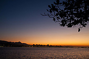 View of Rio de Janeiro from across the bay in Niteroi at sunset, Rio state, Brazil.