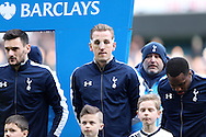 Harry Kane of Tottenham Hotspur (c) wearing a clear face mask lines up before k/o with Goalkeeper Hugo Lloris of Tottenham Hotspur and Danny Rose of Tottenham Hotspur.  Barclays Premier league match, Tottenham Hotspur v Swansea city at White Hart Lane in London on Sunday 28th February 2016.<br /> pic by John Patrick Fletcher, Andrew Orchard sports photography.