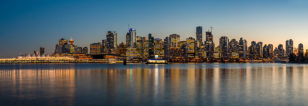 Vancouver skyline from Stanley Park, British Columbia, Canada.