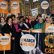 London, UK. 4th March 2018. Bianca Jagger, Sadiq Khan, Helen Pankhurst, Michael Sheen, Sophie Ellis Bexter, Sandi Toksvig, Maria Miller MP, Jo Swinson MP, David Arnold, Sue Perkins, Anne-Marie Duff and Biffy Clyro join Women's Day march 2018 marks 100 years since (some) women in the UK were legally allowed to vote. One hundred years on women still marching for equality demand 50/50 women in  Paliament calling for an end sexual harassment, violence and rape.