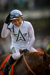 May 5, 2018 - Louisville, Kentucky, U.S. - Jockey MIKE SMITH, riding Justify, smiles after winning the 144th Kentucky Derby at Churchill Downs during the in Louisville, Kentucky, Friday, May 5, 2018 (Credit Image: © Bryan Woolston via ZUMA Wire)