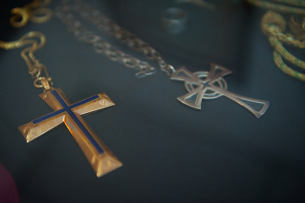 Artifact crosses worn by Archbishop Oscar Romero. El Salvador prepares for the beatification ceremony and mass announcing the beatification of Archbishop Oscar Romero. The Archbishop was slain at the alter of his Church of the Divine Providence by a right wing gunman in 1980. Oscar Arnulfo Romero y Galdamez became the fourth Archbishop of San Salvador, succeeding Luis Chavez, and spoke out against poverty, social injustice, assassinations and torture. Romero was assassinated while offering Mass on March 24, 1980.