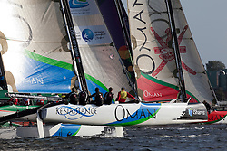 "Kiel - Germany, 28th of August 2009. iShares cup. First day of racing...The first racing day consisting of 8 races. Picture shows the Oman Sail's ""Renaissance"" sailing on opening day of the iShares Cup in Kiel, Germany."