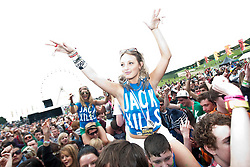 Fans at the Main Stage, Rockness, Saturday, 11th June 2011..RockNess 2011, the annual music festival which takes place in Scotland at Clune Farm, Dores, on the banks of Loch Ness near Inverness..Pic ©2011 Michael Schofield. All Rights Reserved..