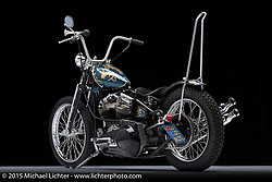 """""""Pop's Hand Me-Down"""", a custom blue with gold leaf panhead built and painted by Kirk Taylor of Custom Design Studio in Novato, CA. Photographed by Michael Lichter during the Easyriders Bike Show in Sacramento, CA on January 7, 2016. ©2016 Michael Lichter."""