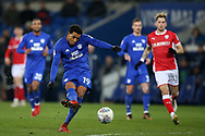 Nathaniel Mendez- Laing of Cardiff City in action. EFL Skybet championship match, Cardiff city v Barnsley at the Cardiff city stadium in Cardiff, South Wales on Tuesday 6th March 2018.<br /> pic by Andrew Orchard, Andrew Orchard sports photography.