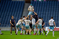 Rugby Union - 2020 / 2021 Guinness Pro-14 - Edinburgh vs Glasgow Warriors - Murrayfield<br /> <br /> Scott Cummings of Glasgow Warriors win a line out <br /> <br /> COLORSPORT/BRUCE WHITE