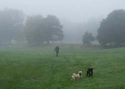 © Licensed to London News Pictures. 21/10/2012. KENILWORTH, UK. A dog walker is seen in mist as they take a morning autumn walk at Abbey Fields in Warwickshire today. Photo credit: Matt Cetti-Roberts/LNP