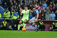 Jesus Navas of Manchester city looks to go past Ciaran Clark of Aston Villa. Barclays Premier league match, Aston Villa v Manchester city at Villa Park in Birmingham, Midlands  on Sunday 8th November 2015.<br /> pic by  Andrew Orchard, Andrew Orchard sports photography.