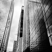 1 Canada Square reflected in surrounding buildings shot on iPhone 6.