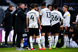 Derby County manager Wayne Rooney instructs his team during a break in play - Mandatory by-line: Ryan Crockett/JMP - 16/01/2021 - FOOTBALL - Pride Park Stadium - Derby, England - Derby County v Rotherham United - Sky Bet Championship