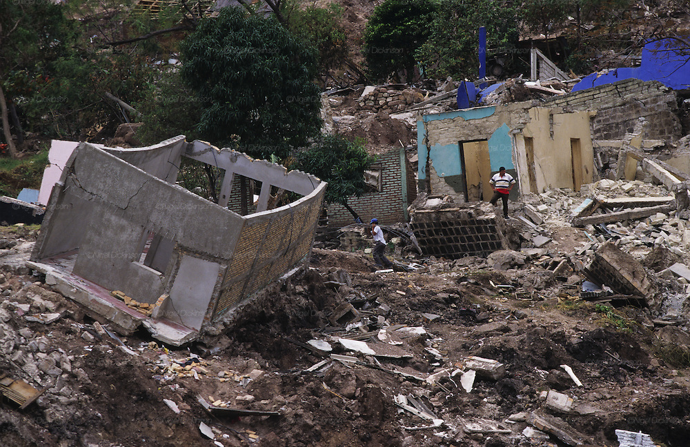 Central America, Honduras, Tegucigalpa. Devastation in the aftermath of Hurricane Mitch. High winds and flooding. Soil erosion caused by deforestation. Reconstruction of capital.  Infrastructure destroyed.
