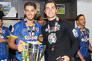 Will Nightingale defender of AFC Wimbledon (5), James Shea Goalkeeper for AFC Wimbledon (1) celebrate as AFC Wimbledon win promotion to league 1after the Sky Bet League 2 play off final match between AFC Wimbledon and Plymouth Argyle at Wembley Stadium, London, England on 30 May 2016. Photo by Stuart Butcher.