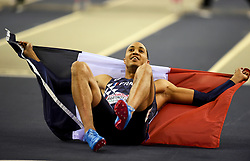 France's Pascal Lagarde-Martino celebrate after winning silver in the Men's 60m Hurdles Final during day three of the European Indoor Athletics Championships at the Emirates Arena, Glasgow.