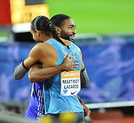 Pascal Martinot-Lagarde congratulates Jason Richardson at the Sainsbury's Anniversary Games at the Queen Elizabeth II Olympic Park, London, United Kingdom on 24 July 2015. Photo by Mark Davies.