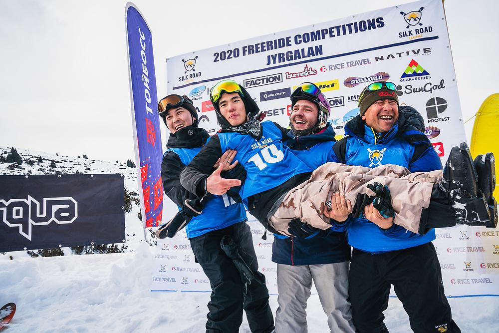 The spirit award goes to Akmat Bek - 1st Vasility Bazhinov, 2nd Timur Zhumabekov, 3rd Michael Kuzman, The amateur winners anounced - Day 3 Silk Road Freeride Competition, Jyrgalan, KG.