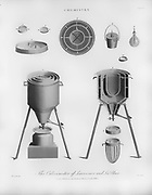 Calorimeter, Modern chemical apparatus for the study of chemistry  Copperplate engraving From the Encyclopaedia Londinensis or, Universal dictionary of arts, sciences, and literature; Volume IV;  Edited by Wilkes, John. Published in London in 1810