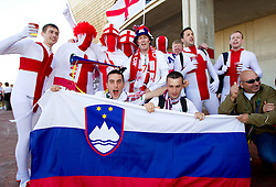 England and Slovenia fans enjoy prior to the 2010 FIFA World Cup South Africa Group C Third Round match between Slovenia and England on June 23, 2010 at Nelson Mandela Bay Stadium, Port Elizabeth, South Africa.  (Photo by Vid Ponikvar / Sportida)