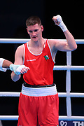 George Bates of Ireland celebrates after beating Leon Dominguez Becerra of Spain, (not pictured) in the Men's Lightweight preliminaries during The Road to Tokyo European Olympic Boxing Qualification, Sunday, March 15, 2020, in London, United Kingdom. (Mitchell Gunn-ESPA-Images/Image of Sport)