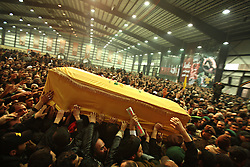 Hezbollah members and supporters touch the coffin of slain militant commander Imad Mugniyeh in Lebanon, Beirut on Feb. 14, 2008. Imad Mugniydh was killed in a mysterious car bombing in Damascus, Syria. Mugniyeh a.k.a. Hajj Radwan, was among the most feared terror operatives in the world.
