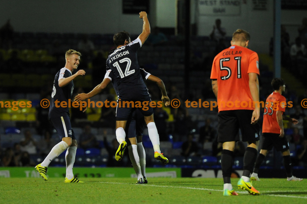 The Southend players celebrate Harry Kyprianous scoring Southends second goal during the Checkatrade Trophy match between Southend United and Brighton and Hove Albion U23 at Roots Hall in Southend. August 30, 2016.<br />Holly  Allison / Telephoto Images<br />+44 7967 642437