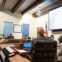 Greater Gallup Economic Development Corporation Board President Tommy Haws speaks to city council Tuesday, Sept. 10 in Gallup.