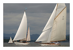 Kookaburra a MSOD Sloop with Belle Adventure, a 94' Bermudan Ketch and The Lady Anne, a 15 metre (95') Gaff Cutter, at the start off Helensburgh for the passage race to Rothesay...This the largest gathering of classic yachts designed by William Fife returned to their birth place on the Clyde to participate in the 2nd Fife Regatta. 22 Yachts from around the world participated in the event which honoured the skills of Yacht Designer Wm Fife, and his yard in Fairlie, Scotland...FAO Picture Desk..Marc Turner / PFM Pictures