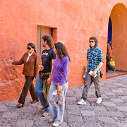 """Guided tour in the Monasterio Santa Catalina in the """"White City"""" of Arequipa, Peru."""