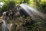 A waterfall cascades through lush jungle vegetation near the Lacandon Maya community of Naha, Chiapas, Mexico on July 4, 2008.