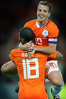 Fotball<br /> Nederland / Holland<br /> Foto: ProShots/Digitalsport<br /> NORWAY ONLY<br /> <br /> Nederland / Holland v Ukrania<br /> <br /> rotterdam 24-05-2008 oefeninterland nederland - oekraine 3-0 rafael van der vaart en ryan babel