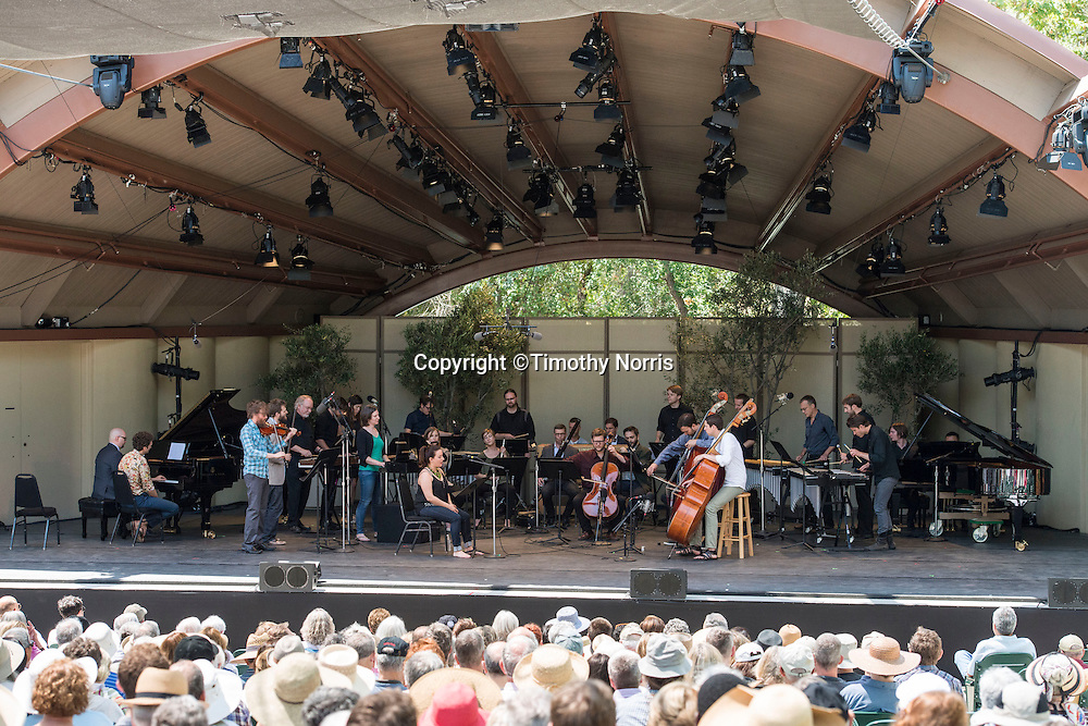 """Members of the MMDG Music Ensemble, red fish blue fish, The Bad Plus, Thomas Morris (Artistic Director) and soprano Yulia Van Doren perform Terry Riley's """"In C"""" at Libbey Bowl on June 8, 2013 in Ojai, California."""