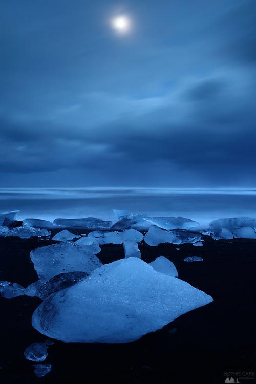 Jökulsárlón Beach on a Moonlit Night, South-east Iceland