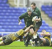 24/02/1002<br /> Rugby - Zurich Premiership<br /> Madejski Stadium - Reading - Berks<br /> London Irish v Wasps:<br /> Exiles Mike Wolsley, breaks through the gap. ' [Mandatory Credit: Peter Spurrier/Intersport Images],