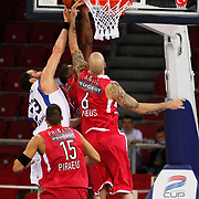Olympiacos's Pero ANTIC (R) during their Two Nations Cup basketball match Anadolu Efes between Olympiacos at Abdi Ipekci Arena in Istanbul Turkey on Sunday 02 October 2011. Photo by TURKPIX
