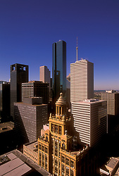 Aerial view of the Niels Esperson Building in Houston's downtown skyline.