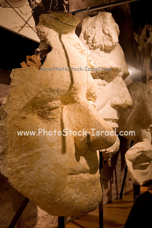 South Dakota SD USA, Mount Rushmore National Monument. The originals Cast models of the mountain. These are 1:12 models which were used to calculate the carving of the mountain.