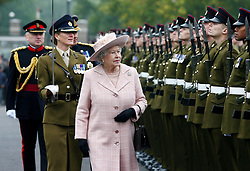 File photo dated 25/10/07 of Queen Elizabeth II inspecting the guard of honour during a visit to the Corps of Royal Engineers at Brompton Barracks, Chatham, Kent.