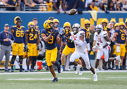 Oct 2, 2021; Morgantown, West Virginia, USA; West Virginia Mountaineers wide receiver Isaiah Esdale (9) catches a pass during the third quarter against the Texas Tech Red Raiders at Mountaineer Field at Milan Puskar Stadium. Mandatory Credit: Ben Queen-USA TODAY Sports