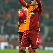 Galatasaray's Burak Yilmaz celebrate his goal during their Turkish superleague soccer derby match Galatasaray between Trabzonspor at the AliSamiYen spor kompleksi TT Arena in Istanbul Turkey on Sunday, 22 December 2013. Photo by TURKPIX