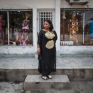 Lydie Malingumu  in front of her atelier in Kinshasa. CAPTA/FEDERICO SCOPPA