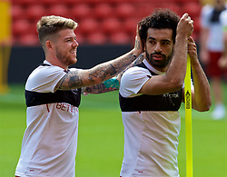 LIVERPOOL, ENGLAND - Monday, May 21, 2018: Liverpool's Alberto Moreno and Mohamed Salah during a training session at Anfield ahead of the UEFA Champions League Final match between Real Madrid CF and Liverpool FC. (Pic by Paul Greenwood/Propaganda)