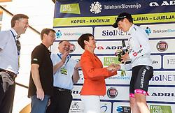 Gregor Macedoni, Miro Cerar, Zdravko Pocivalsek, Maja Makovec Brencic and Best in young rider classification Tadej Pogacar (SLO) of Rog - Ljubljana in white jersey at trophy ceremony after the last Stage 4 of 24th Tour of Slovenia 2017 / Tour de Slovenie from Rogaska Slatina to Novo mesto (158,2 km) cycling race on June 18, 2017 in Slovenia. Photo by Vid Ponikvar / Sportida