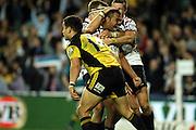 Kurtley Beale celebrates his try<br /> Super 14 rugby union match, Waratahs vs Hurricanes, Sydney, Australia. <br /> Saturday 14 May 2010. Photo: Paul Seiser/PHOTOSPORT