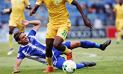 13052018 (Durban) Maritzburg United player Andrea Feliccia fighting for a ball with Nkanyiso Mngwengwe at a Final match of the ABSA premier league between Maritzburg United and Lamontville Golden Arrows at The Harry Gwala stadium, Yesterday.<br /> Pictcure: Motshwari Mofokeng/ANA