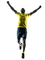 one caucasian man runner running jogging jogger happy silhouette isolated on white background